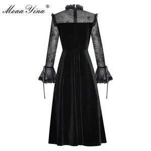 Image 4 - MoaaYina Fashion Designer Runway sukienka wiosna lato damska sukienka koronki z długim rękawem Patchwork aksamitne sukienki