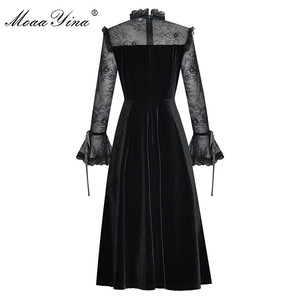 Image 4 - Модельное платье MoaaYina, модное дизайнерское весенне летнее женское платье, кружевные лоскутные бархатные платья с длинным рукавом