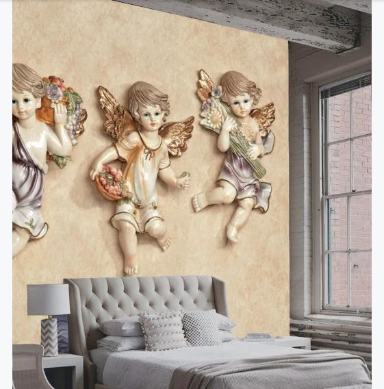 European Wallpaper Stereoscopic Angels Mural Wallpapers For The Living Room Bedroom Wall Covering 3D Wall Murals