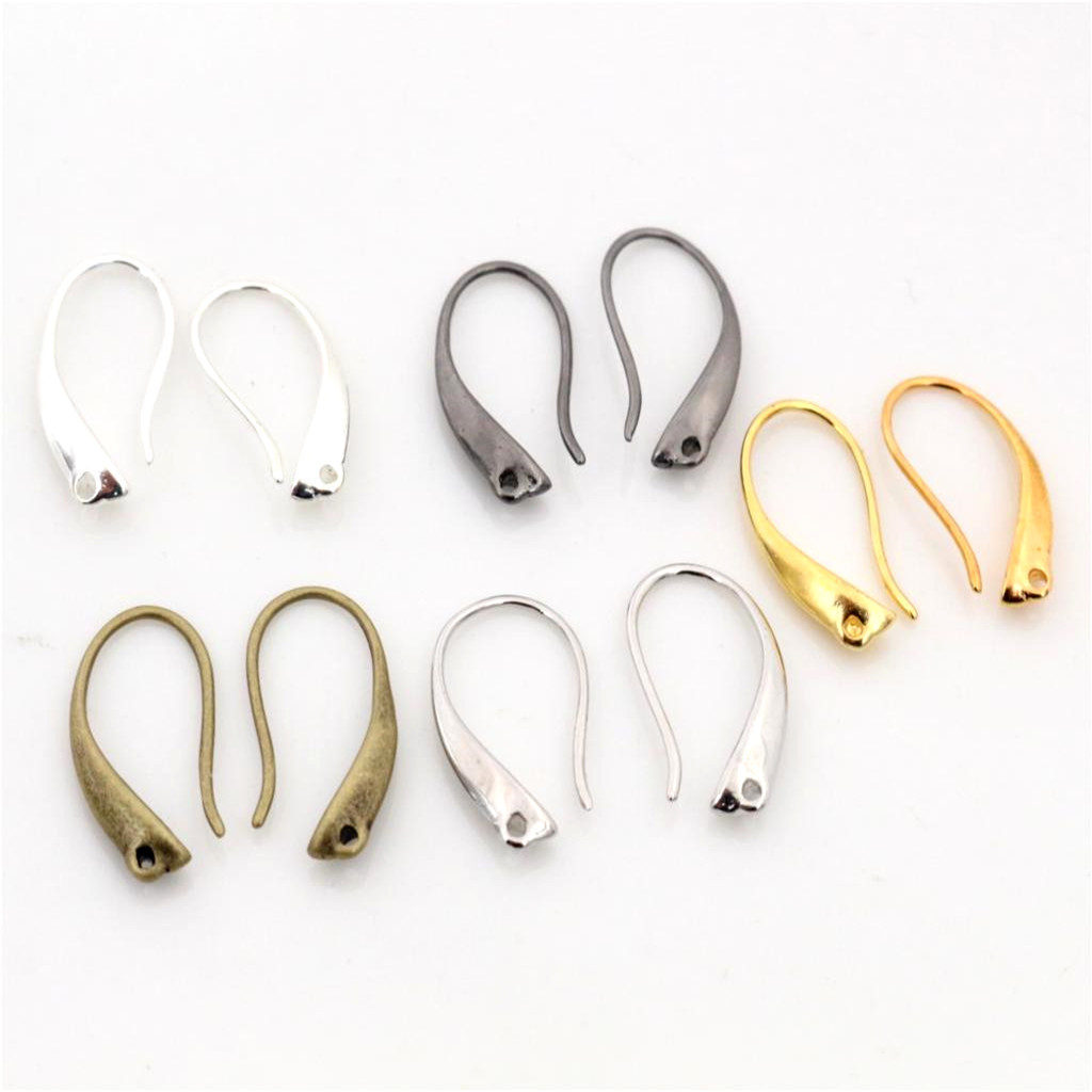 High Quality 18x9mm 20pcs Classic 5 Colors Plated Brass French Earring Hooks Wire Settings Base Settings Whole Sale
