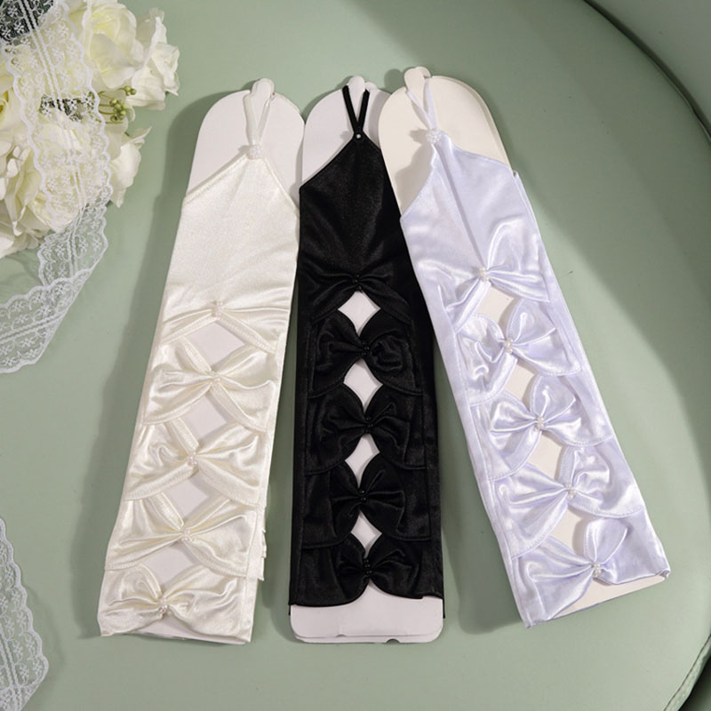 5 Color Femme Fingerless Bridal Gloves For Women Hollow Fingerless Bridal Gloves Elbow Length Beaded Bow Wedding Prom Party S295