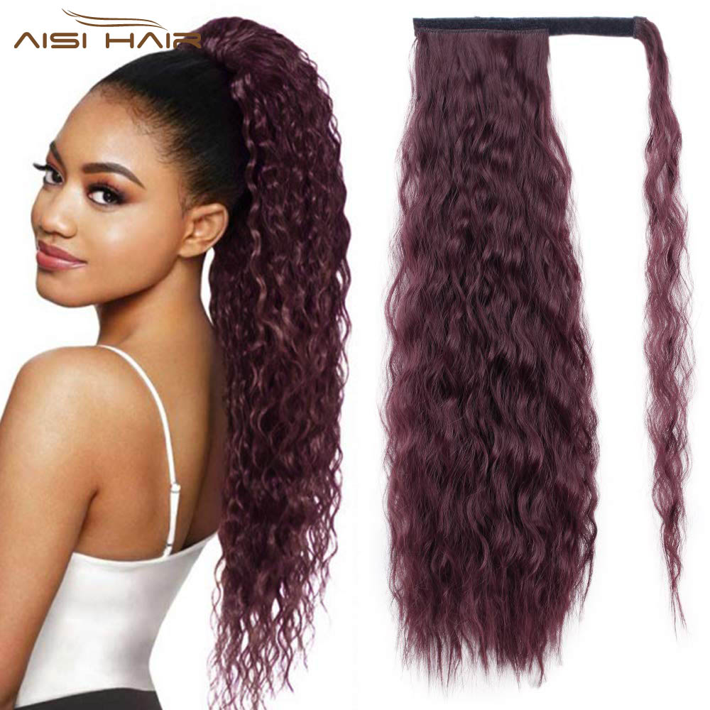 I's A Wig Long Wavy Pony Tail Hair Extension Synthetic Ponytail Fake Hair Corn Clip In Hair Piece Wrap Around Burgundy Hair