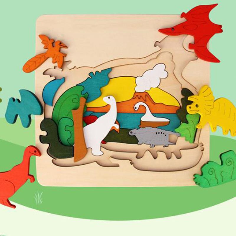 Kids/children Educational Wooden Toys Multilayer Classic Cartoon 3D Animal Puzzle Baby Gift Wood Puzzle Toys For Children