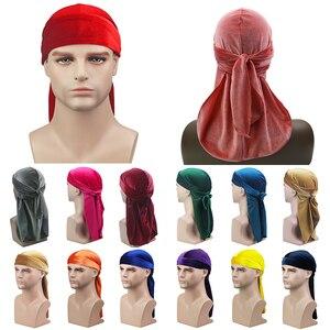 Aksamitna długi tren Durag czapka Turban Unisex oddychająca chustka kapelusz peruki Doo mężczyźni Silky Durags bandany Satin Biker Headwrap nakrycia głowy