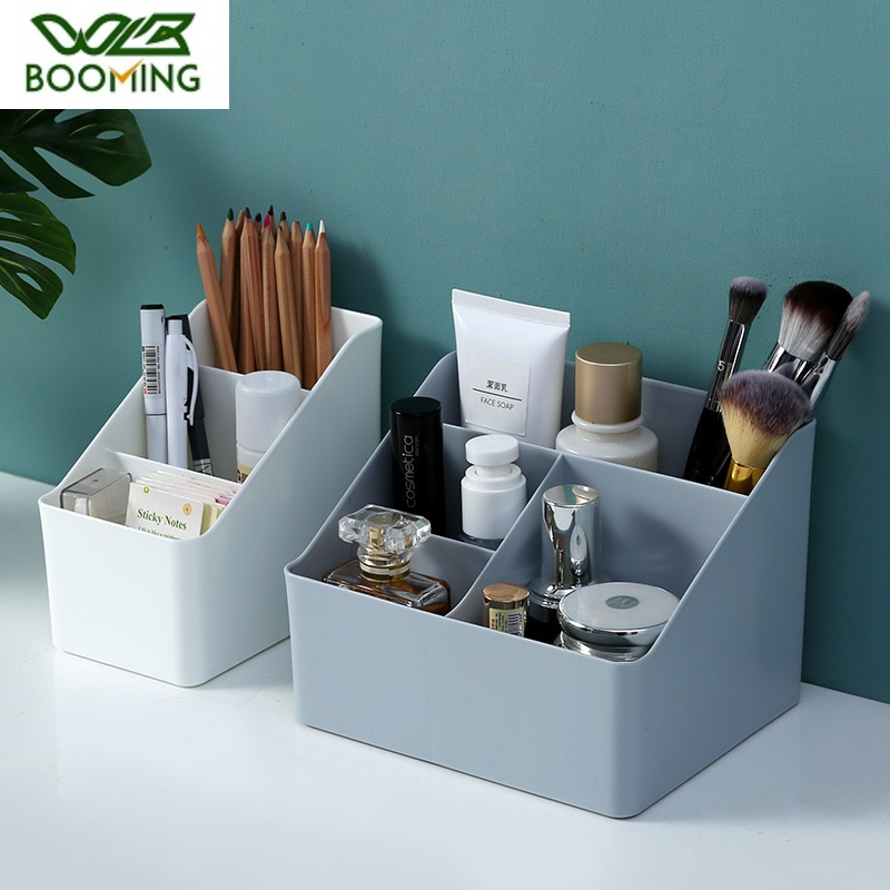 WBBOOMING Plastic Desktop Sundries Storage Makeup Organizer Cosmetic Makeup Brush Storage Case Home Office Bathroom Storage Box