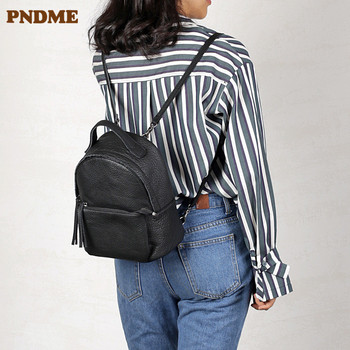 PNDME simple casual genuine leather ladies small backpack fashion soft cowhide luxury multifunctional mini bagpack for women