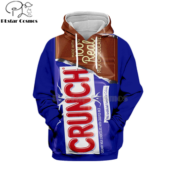 Newest candy Snack bag chocolate sauce 3D Hoodies food Harajuku Men Women Long Sleeve PulloVer Hooded Sweatshirt Casual Brand
