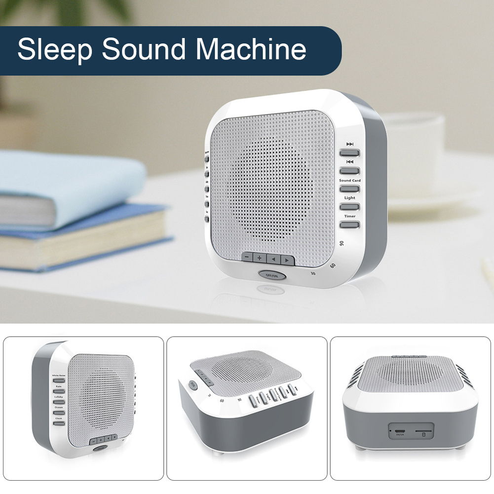 White Noise Nightlight Travel Relaxation Soothing Ocean Lullaby Rain Sleep Sound Machine Baby Natural USB Rechargeable For Kids