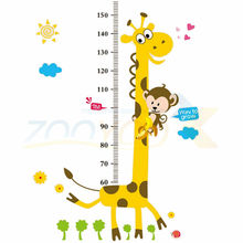 giraffe height wall sticker for kids room ZooYoo831 decorative adesivo de parede removable pvc wall decal