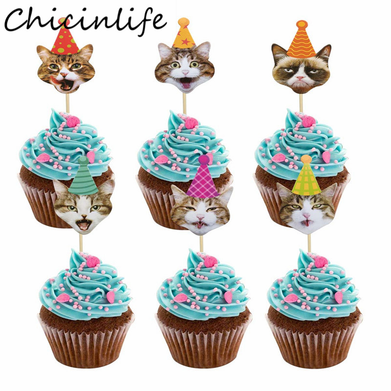 Chicinlife 24Pcs Cute <font><b>Cat</b></font> <font><b>Cupcake</b></font> <font><b>Toppers</b></font> Pet Party Decoration Baby Shower <font><b>Cat</b></font> Theme Birthday Party Cake Accessory Supplies image