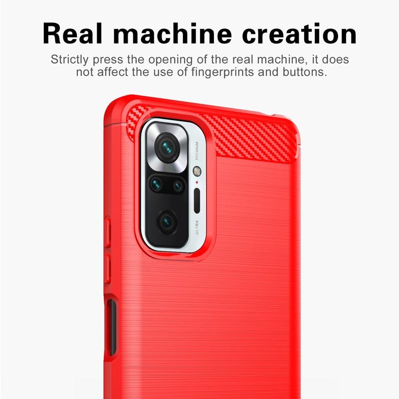 Funda de goma suave de TPU para Xiaomi Redmi Note 10 Pro, carcasa antigolpes de fibra de carbono, 9T, 8T, 9S, 10T Pro, 11 Lite 5