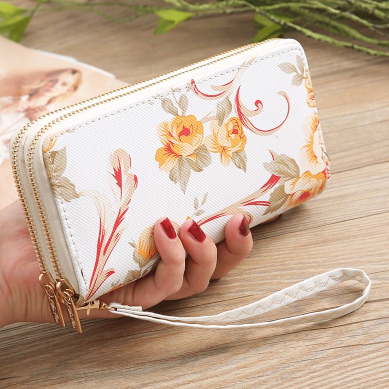 Fashion Womens PU Leather Wallet Double  Zipper Purse Coin Purse Casual Solid Simple Lady Wrist Strap Card Wallet