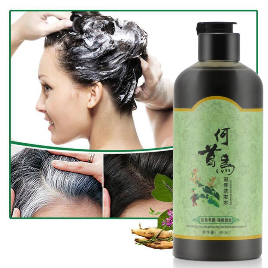 Grey Hair Removal Anti White Hair Shampoo Treatment Of Black Brunette Moisturizing nourishing hair blacken shampoo 300 ml