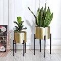 Золотой цветочный горшок из нержавеющей стали  кованая железная металлическая подставка для цветов  домашнее украшение  цветочное украшен...