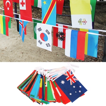 1 string Hanging Flag 200 Countries Flag Banner International World Flags Bunting Banner Rainbow Flag For Party Decorations image