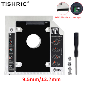 TISHRIC 2nd HDD Caddy SSD Case Box 12.7mm SATA to SATA 3.0 HD Hard Disk Drive Enclosure For Laptop CD-ROM DVD-ROM Optical Bay
