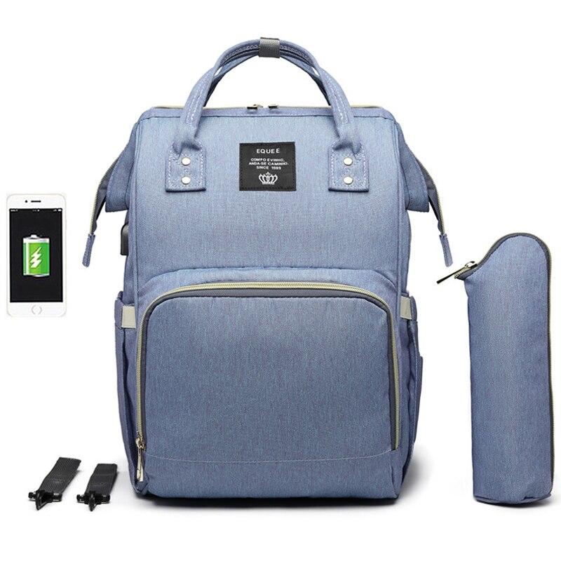 Image 5 - Large Capacity Diaper Bag Backpack Waterproof Maternity Bag Baby Diaper Bags With USB Interface Mummy Travel Bag For StrollerDiaper Bags   -