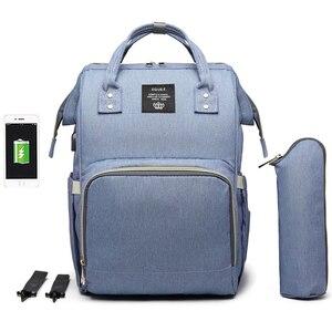 Image 5 - 大容量おむつバッグバックパック防水産科バッグベビーおむつバッグ USB インタフェースミイラのためのベビーカー