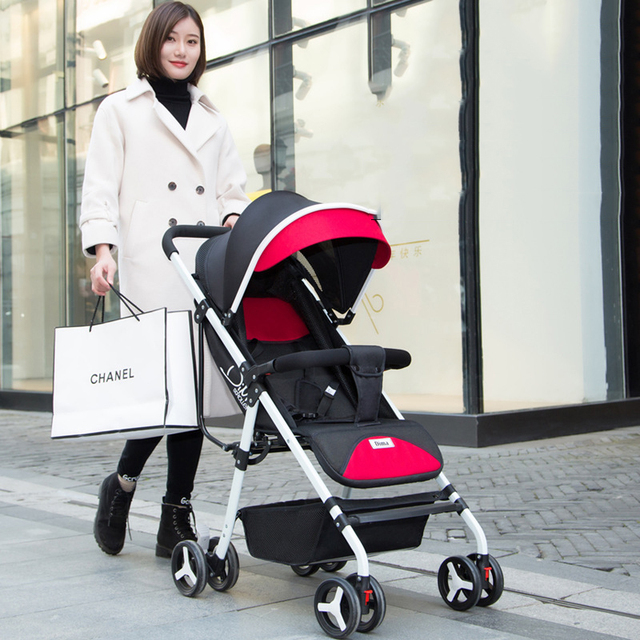 Baby stroller ultra light portable can sit reclining folding trolley baby umbrella high landscape baby stroller