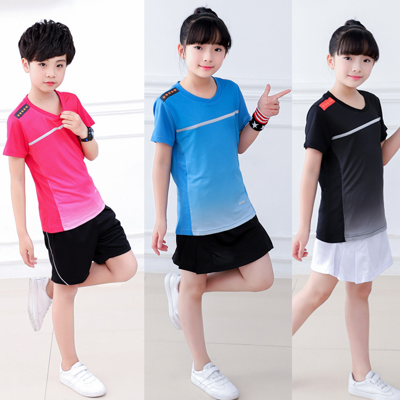 2018 New Style Short Sleeve Sports Set Men And Women Children Breathable Table Tennis Wear Tennis Badminton Clothing Game Jersey