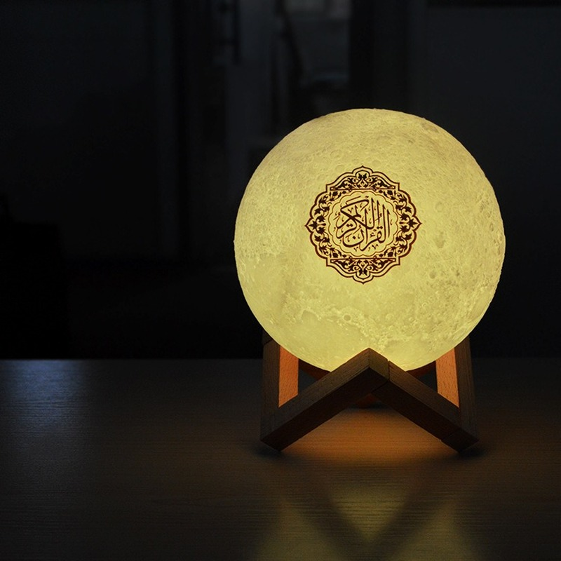 2019 New 3D Print Quran Moon Lamp Wireless Bluetooth Quran Speaker LED Night Light Home Deor Desk Table Lamps Adult Gift (A)