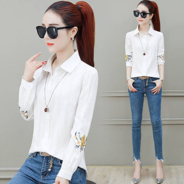 Flower Embroidery Women Spring Summer Style Chiffon Blouses Shirts Lady Casual Long Sleeve Chiffon Blusas Tops DF2995 2