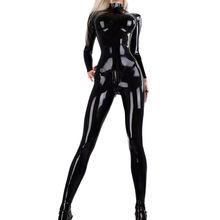 Mulheres pvc 3d completo bodysuit látex elasitc sexy apertado falso couro óleo brilhante bandagem bodycon macacão plus size cosplay club wear