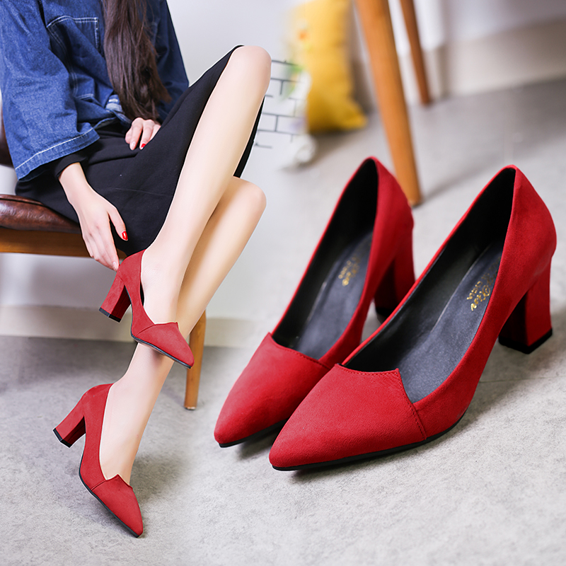 2019 New Korean Wild Shallow Mouth High Heels Thick With Suede Pointed Single Shoes Elegant Comfort Professional Womens Shoes