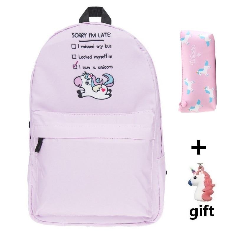 2018 Girls Unicorn School Bags Animal Printing BackPack Travel Softback School Ba Mochila School Backpacks For Girls Bagpack Set