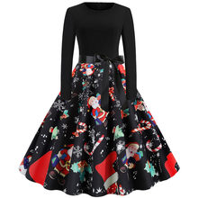 Women Elegant Vintage Christmas Dress 2019 Autumn Winter Dresses Long Sleeve O-neck Pin up Holidays Party Dress платье #BL30(China)
