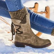 נשים שלג מגפי וינטג גבירותיי נעלי סריגה צלב נעלי זמש חם תחרה עד עיצוב מגפי עקב נמוך נוח נעלי WJ001