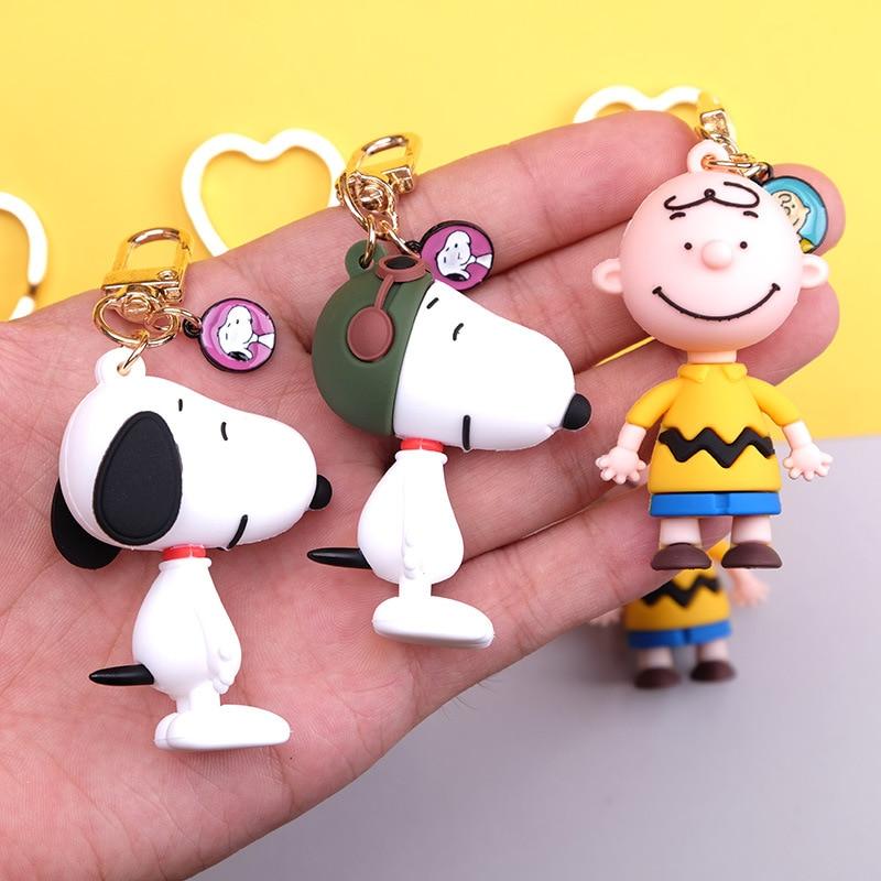 2020 Cute Cartoon Charlie Brown Key Chain Snoopy Key Chain Animated Cartoon Keychains Birthday Gift For Boys And Girls Key Ring