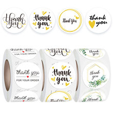 Flores obrigado adesivos para o seu pedido com coração 500 etiquetas 1 round round branco redondo para pequenas empresas boutique sacos, favores do casamento