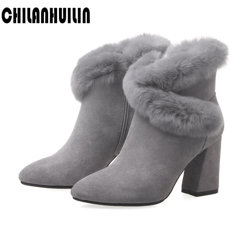 winter warm fur women snow boots casual shoe ankle boots for women female shoes winter zipper high heels lady boots botas mujer