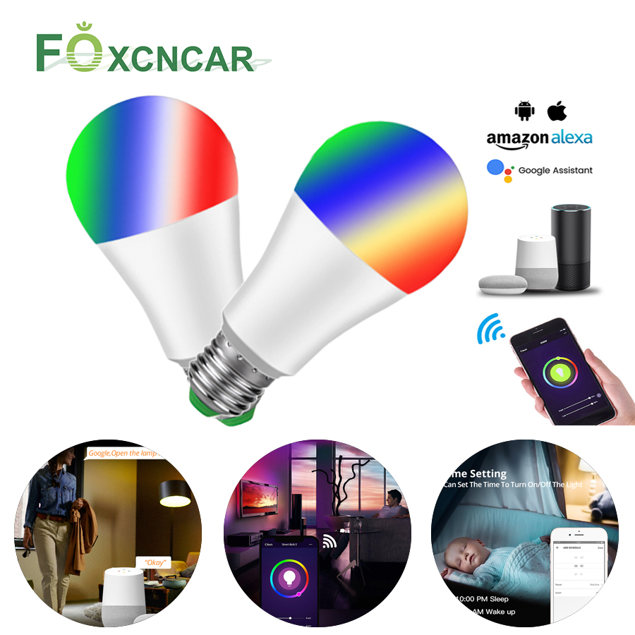 1/3 Pcs Smart WiFi Light Bulb LED Lamp RGB RGBW E27 LED Bulb Wake-Up Warm Lights Work With Alexa Google Home Christmas Lighting