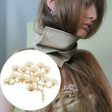 Fashion Brooch Vintage Pine Tree Brooch Tree Branch Faux Pearl Corsage Pin Women Elegant Jewelry Pin Jewelry Accessories trendy rhinestoned faux pearl brooch for women