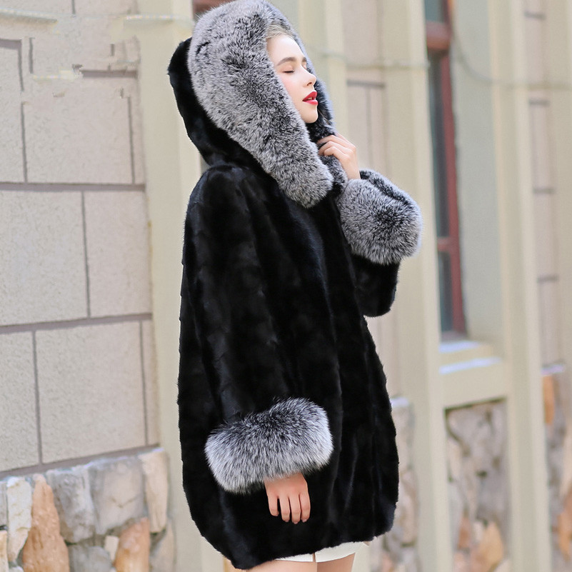 Mink Real Natural Coat Female Fox Fur Collar Luxury Fur Coats Winter Jacket Women Warm Long Jackets Plus Size 5xl MY4158 S S