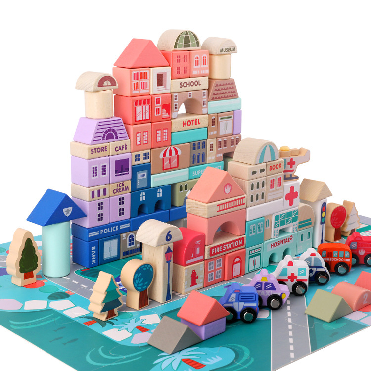 115pcs/set City Traffic Racing Scenes Assembled Building Blocks Wooden Toys Early Educational Toys For Children Birthday Gift