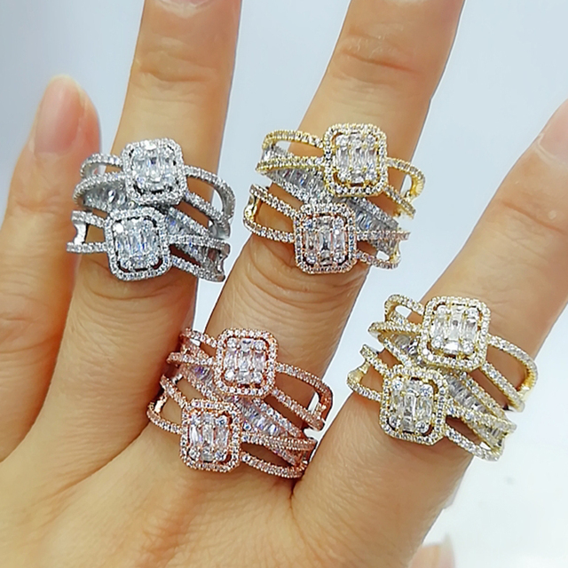 GODKI Baguette Cut Ring Engagement Handmade Rainbow CUBIC ZIRCONIA Stone Rings For Women Fashion Finger Accessories Wedding Band