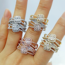 GODKI Baguette ตัดแหวน Handmade Rainbow CUBIC Zirconia แหวนแฟชั่น Finger อุปกรณ์เสริมงานแต่งงาน