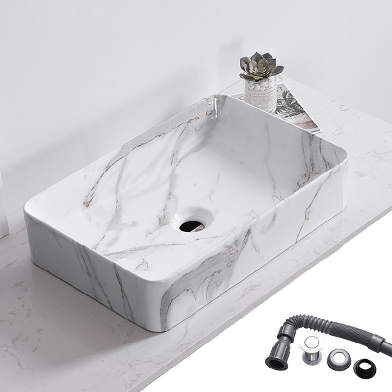 Ceramic Basin Sinks Accessories Above-Counter Marble Square Bathroom Home with Pattern-Art