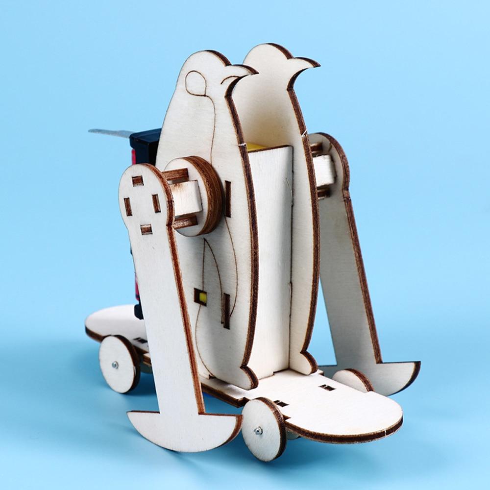 Electric 3D Sliding Skateboard Penguin DIY Assembled Wooden Toy Educational Toys for Children Science Experiment STEM Toys
