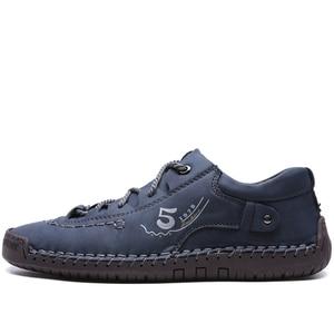 Image 2 - JUNJARM Handmade Men Casual Shoes Brand Men Sneakers Men Loafers Shoes Men Split Leather Breathable Moccasins Plus Size 38 48