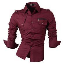 Jeansian Mannen Casual Dress Shirts Mode Desinger Stijlvolle Lange Mouwen Slim Fit 8371 Wijnrood