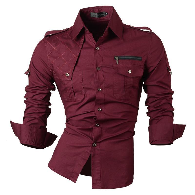Jeansian Men's Casual Dress Shirts 패션 디자이너 세련된 긴 소매 슬림 피트 8371 WineRed