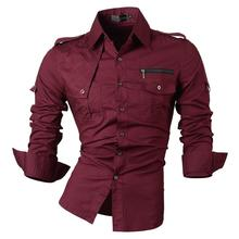 กางเกงยีนส์ผู้ชายชุดลำลองเสื้อแฟชั่นออกแบบสไตล์แขนยาว SLIM FIT 8371 WineRed