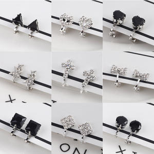 Korea Style Rhinestone Small Geometric Clip on Earrings for Girl Kid Party Charm Without Pierced Earring Ear Clip Cuff Earrings