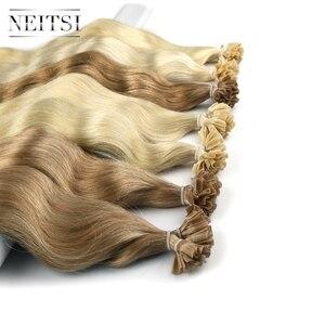 """Image 4 - Neitsi машина Remy человеческие Fusion волосы U Кончик ногтей естественная волна Pred Bond кератин натуральные волосы для наращивания 20 """"1 г/локон 18 цветов"""