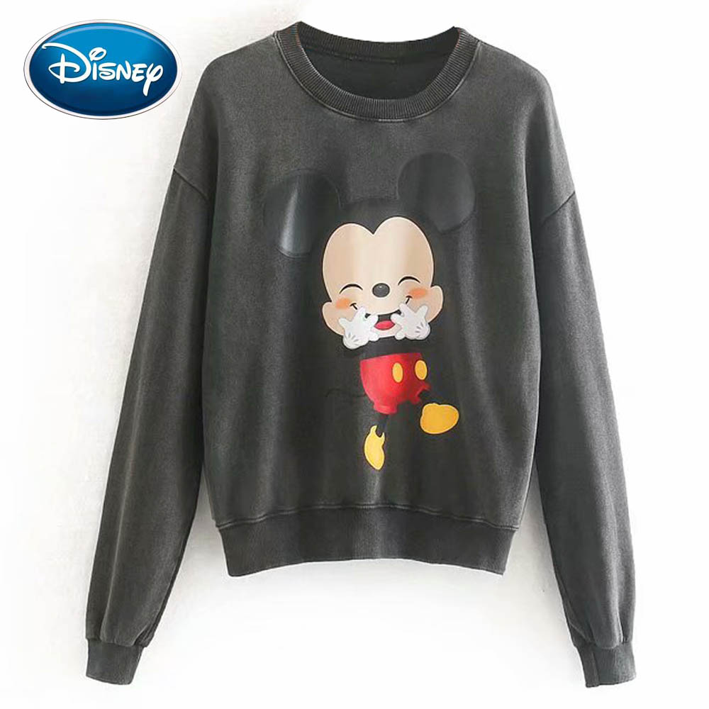 Disney Stylish Mickey Mouse Cartoon Fortune Love Letter Print O-Neck Pullover Women Sweatshirt Long Sleeve Harajuku Casual Tops