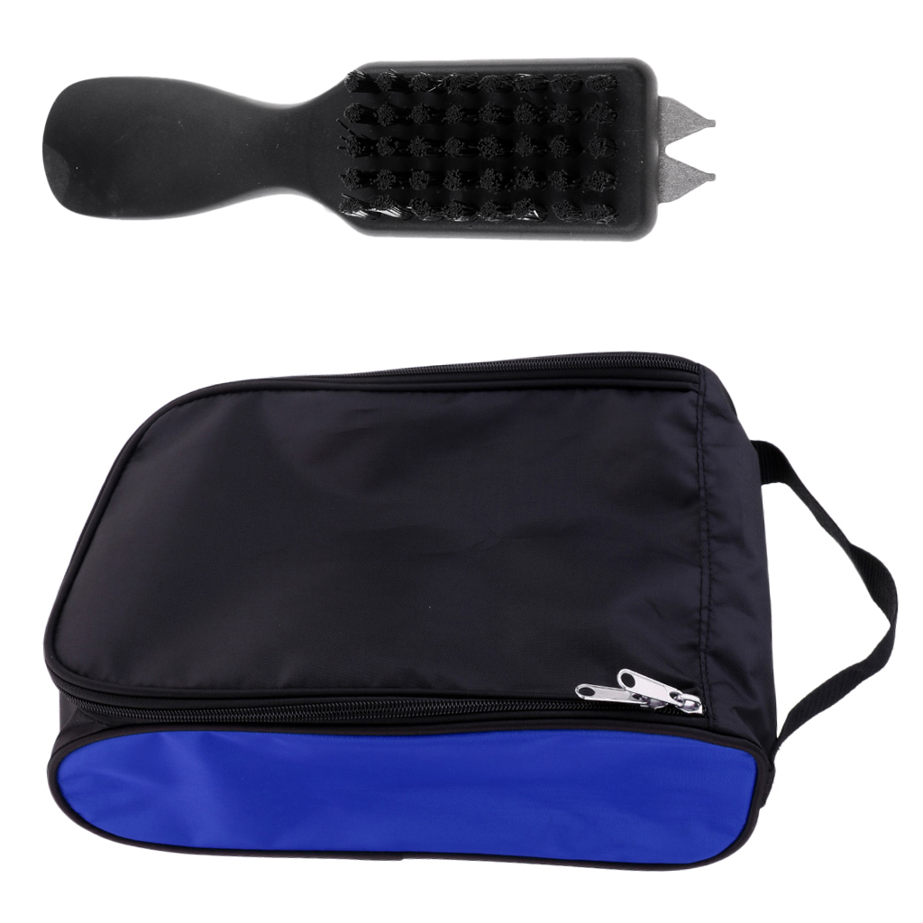 Golf Shoe Storage Bag Waterproof Portable Shoes Bag Case And Shoes Brush Cleaner Black